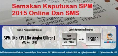 Semak Keputusan SPM 2015 Melalui Online & SMS