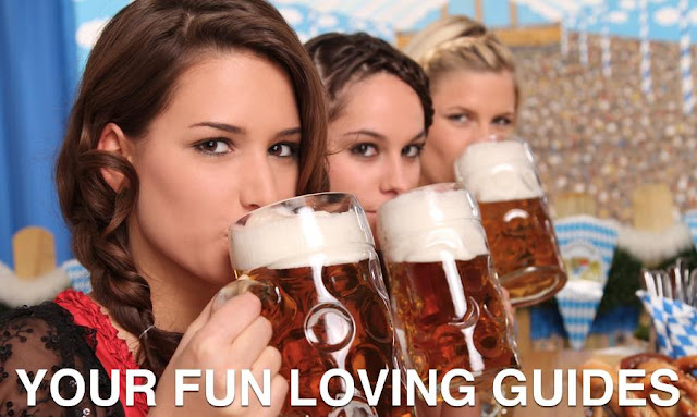 3 Girls drinking Steins of Lager