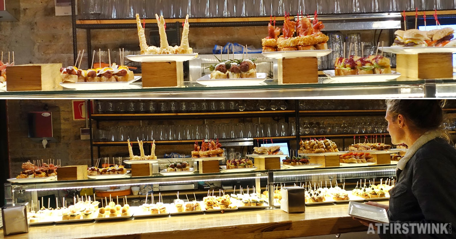 Pinchos and drinks at La Tasqueta de blai bar Barcelona Spain