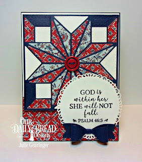 Our Daily Bread Designs Stamp Set: God Verses 2, Custom Dies:Fancy Circles, Star Quilt, Medium Bow, Paper Collection: Americana Quilt