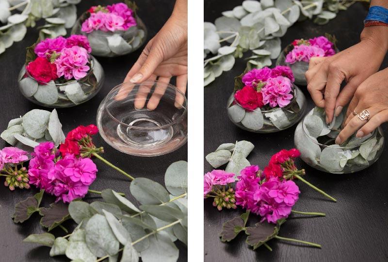 decorazioni tavola con gerani e foglie di eucalipto
