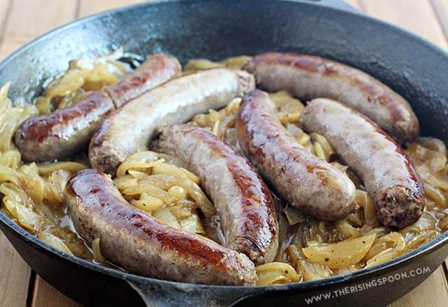 One-Pan Boiled Brats with Sweet Onions & Hard Apple Cider (Gluten-Free)