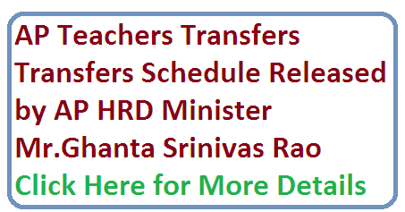 AP Teachers Transfers Schedule Released. HRD Minister of AP Mr Ghanta has released the schedule for AP/ Andhra Pradesh Teachers