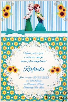 convite artesanal aniversário infantil filme frozen fever verde azul amarelo menina delicado