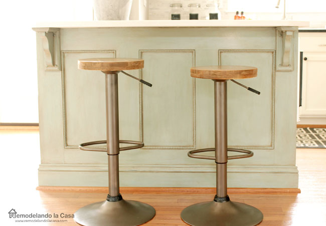 ASCP duck egg blue kitchen island with rustic industrial bar stools.