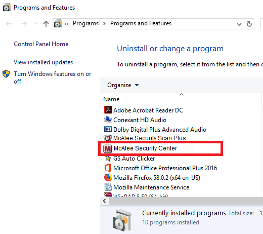 uninstall McAfee windows 10