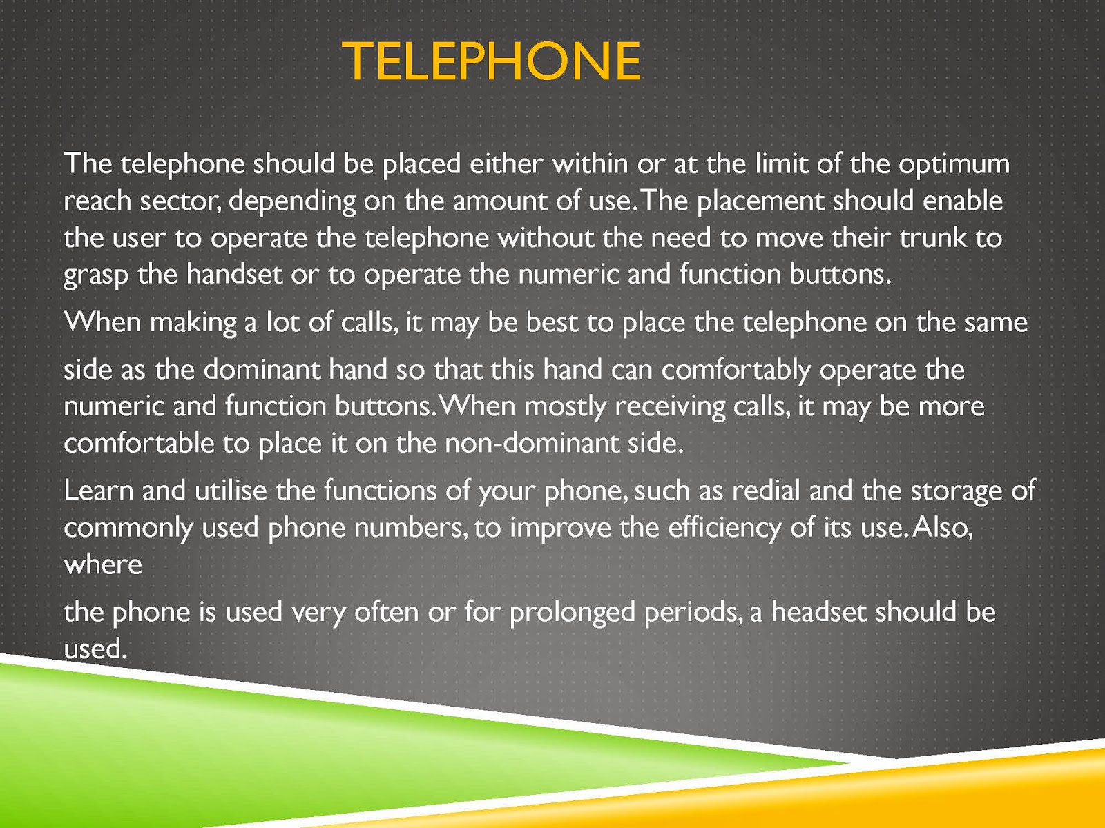WORKSTATION TELEPHONE TIPS