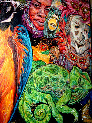 hurricane, rita, katrina, louisiana, cajun, gulf of mexico, oil painting, Melissa Sarat painting, parrot, chameleon, frog, turtle, mardi gras, masks, fish, ocean, monkey, carnival, goddess, robin eggs, bird nest, water, storm painting, water painting, goddess painting, mardi gras painting, frog art, frog painting, south louisiana, LSU, parrot art, turtle art, celebration art, environmental, global warming