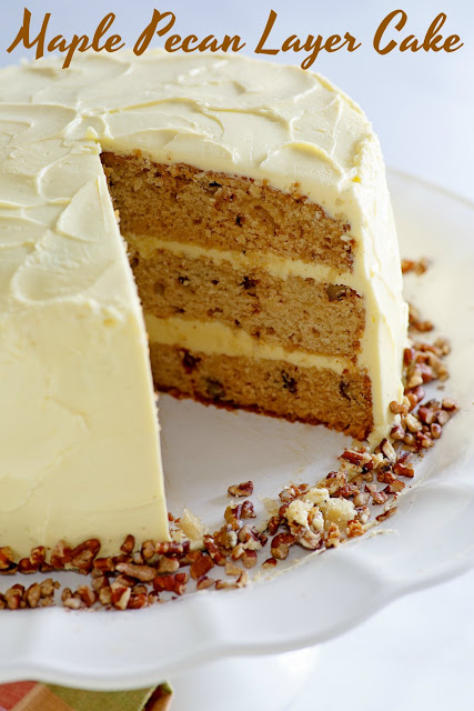 This lovely cake is the perfect combination of flavors and textures. The warm maple syrup blends perfectly with pecans for an out of this world cake, the maple frosting is amazing too! Dessert is served and it's delicious!