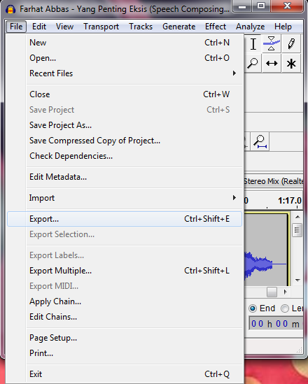 Cara Menyimpan File Audacity Ke Format MP3