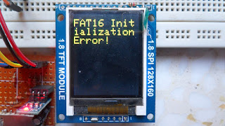 MMC/SD card with ST7735S TFT initialization error message