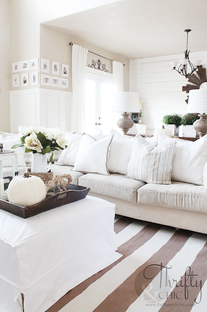 Neutral Fall decorating ideas and decor. Neutral and white living room decor. Two story great room decorating idea