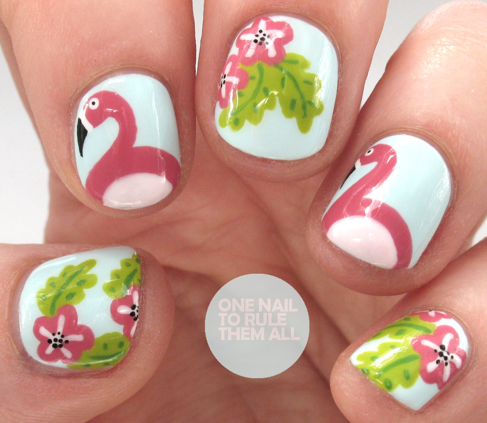 One Nail To Rule Them All Flamingo Nail Art Tutorial For Divine