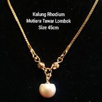 Kalung Mutiara Lombok Air Tawar Bahan Rhodium