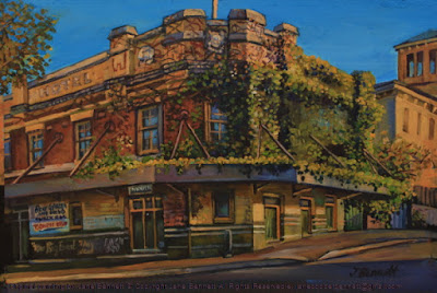 Plein air acrylic painting of the Terminus Hotel in  Pyrmont  by industrial heritage artist Jane Bennett