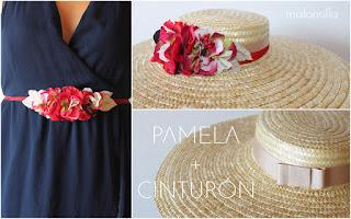 Una pamela que se convierte en cinturón, con flores rojas by malonsilla look invitada boda.