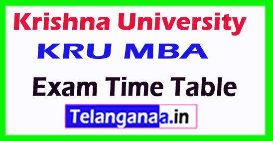 Krishna University KRU MCA Exam Time Table