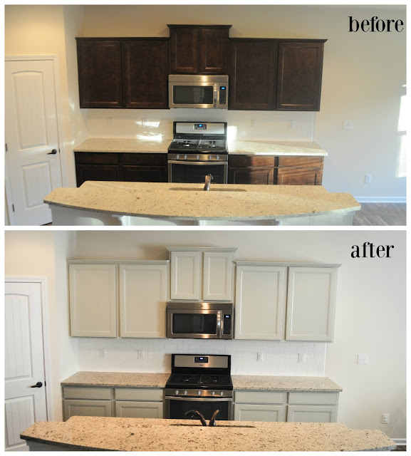 before after painted kitchen cabinets we painted our brand new kitchen cabinets and here s how 11955