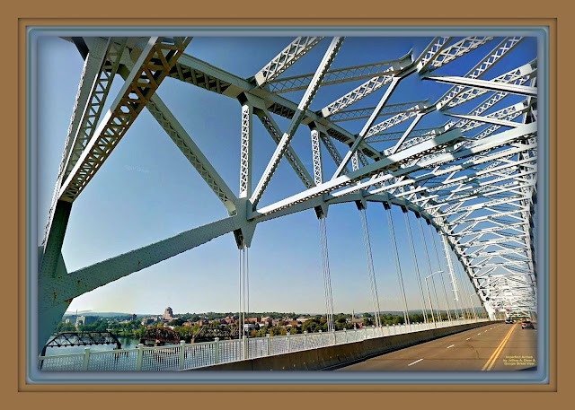 e hanced color and contrast highlight silver steel beams of bridge superstructure