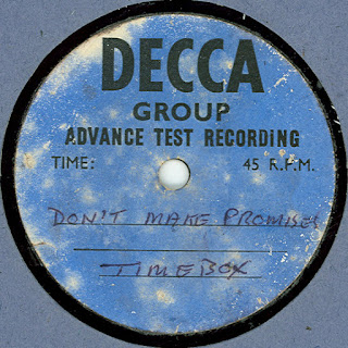 "A rare one-sided Decca acetate for ""Don't Make Promises""."