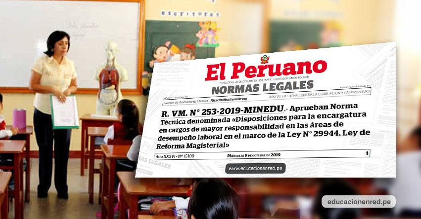 MINEDU convoca a nuevo proceso para encargatura de puesto a nivel nacional (R. VM. N° 253-2019-MINEDU)