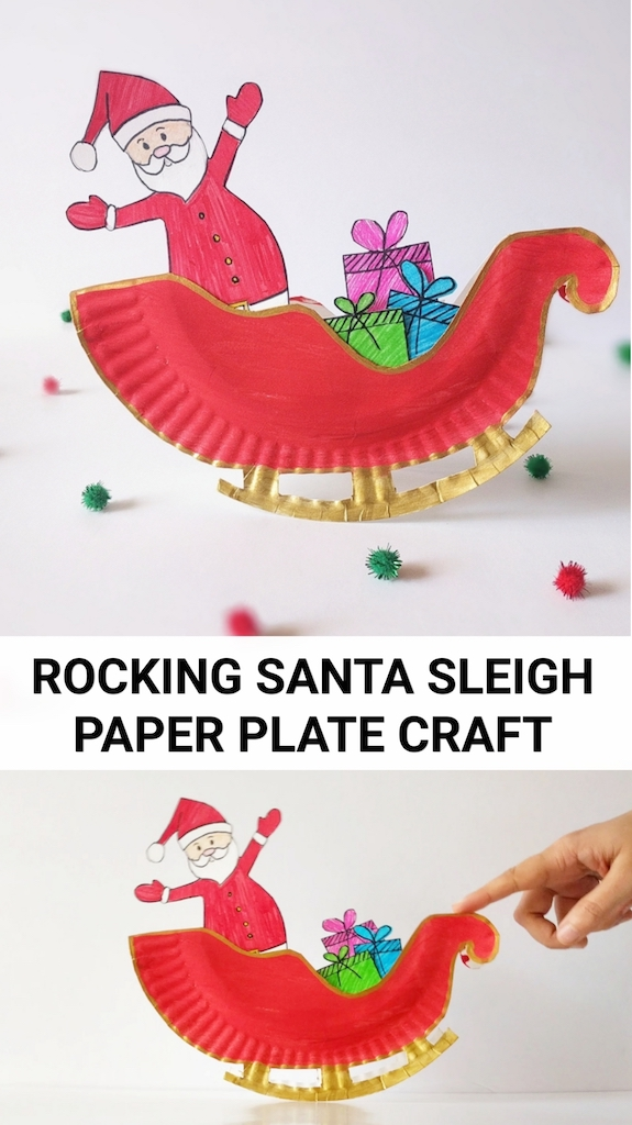 Santa Claus Craft, Christmas Craft for Kids, Sleigh Craft for kids, sled craft for kids, paper craft for kids, diy toy craft, preschool craft idea, kindergarten craft project, paper plate craft idea
