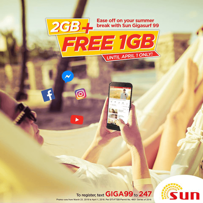 Sun's GIGA99 promo now has 3GB data for a limited time!