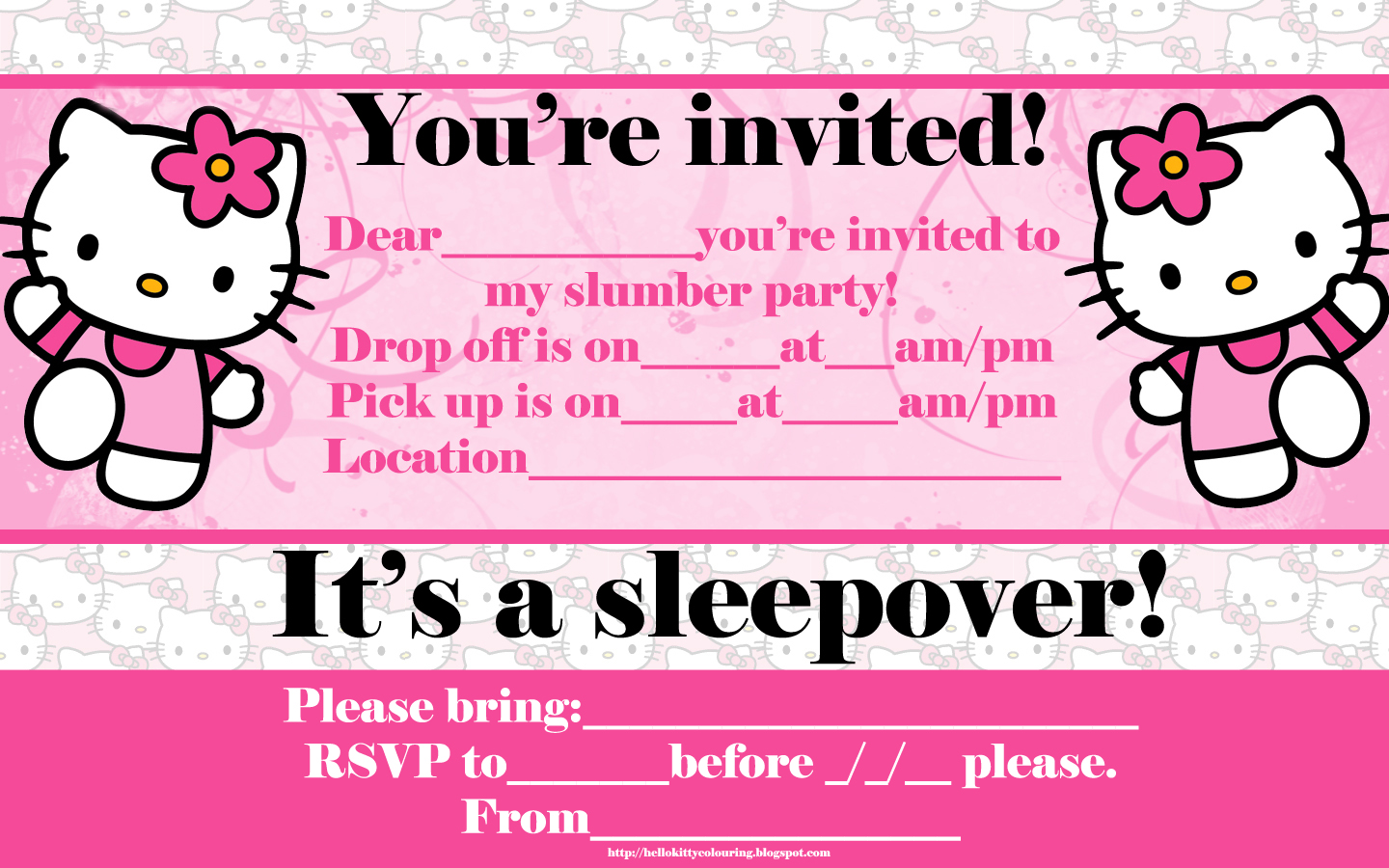 picture relating to Printable Sleepover Invitations referred to as Hi there KITTY COLORING Webpages