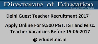 Delhi Guest Teacher  Notification  2017