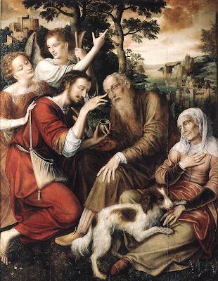 Reproduccion del cuadro La Curacion de Tobias de Enero Massys.