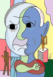 Pablo Picasso caricature by Ian Davy Brown