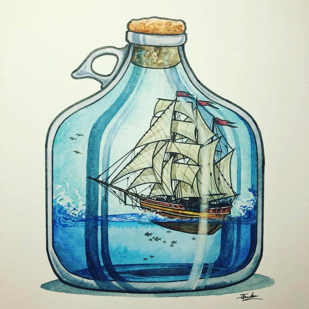 02-Ship-in-a-jug-Jon-Guerdrum-Ship-in-a-Bottle-Drawings-and-Paintings-www-designstack-co