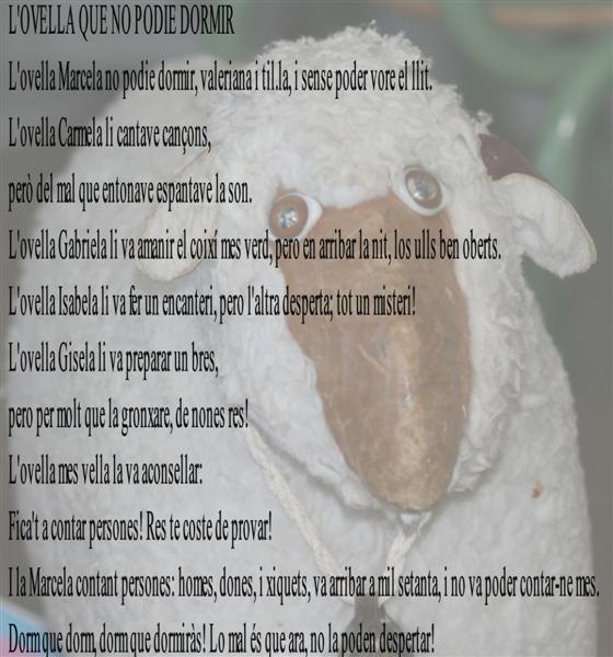 Ovella , Marcela , dormir , dormí, ovelles,contá ovelles