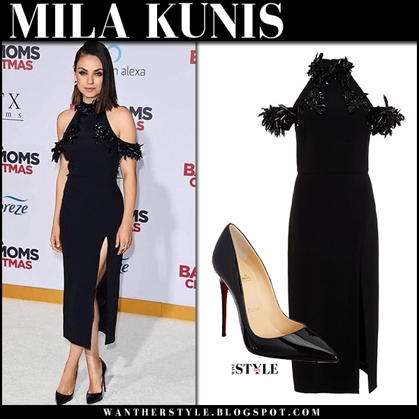5e9221c8ce2 Mila Kunis in black off shoulder dress cushnie et ochs and black pumps at  Bad Mom s