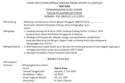 Download SK Kepala Sekolah tentang Pengangkatan Guru Honor