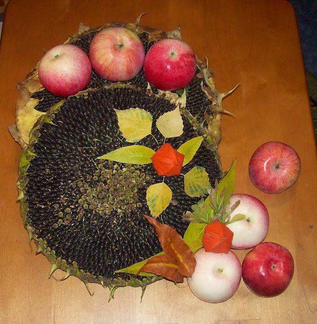 дары осени: яблочки, пдсолнушки...