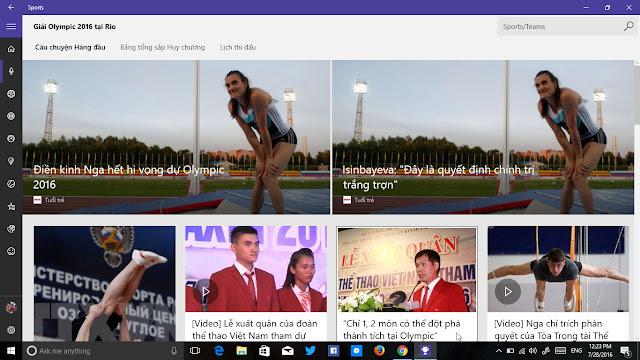 Ứng dụng MSN Sports cập nhật giải Olympic 2016 tại Rio