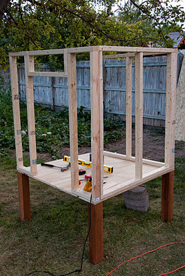 building frame of chicken coop