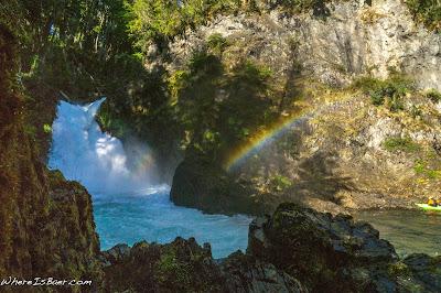 Salto de Alerces, kayak waterfall patagonia rainbow argentina WhereIsbaer.com Chris Baer
