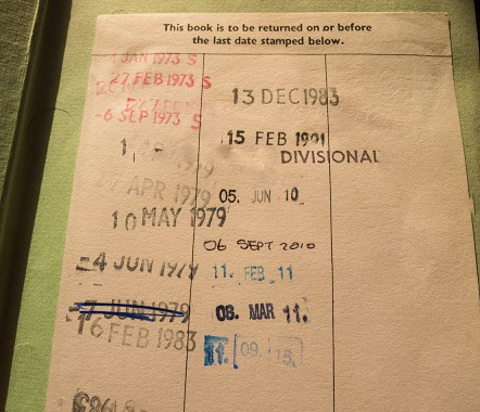 Date label on library copy of The Tombs of Atuan, with return stamps going back to 1972