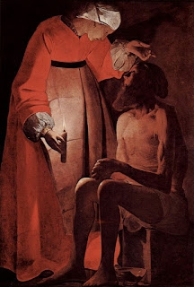 Job speaking to his wife (as depicted by Georges de La Tour): The defining point of Job's life was the fact that He feared God and shunned evil in all that he did. It bothers me that heaven is putting up an advertisement for a man even when there are several men existing.