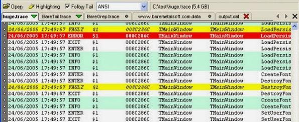 BareTail log analysis tool