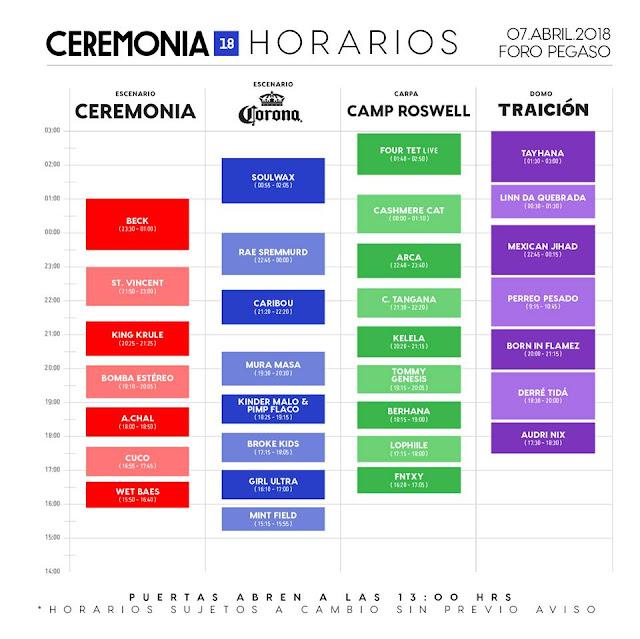HORARIOS CEREMONIA 2018