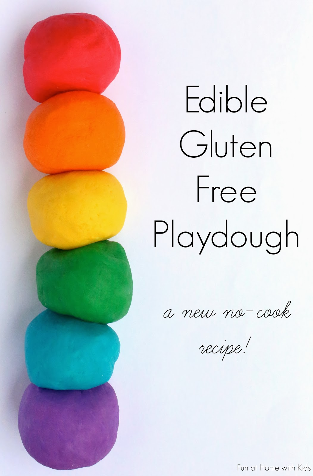 {NEW recipe} Super soft Edible Gluten Free Playdough - no cook and ready in under three minutes!  Safe for babies and toddlers and anyone who is gluten-free!  From Fun at Home with Kids