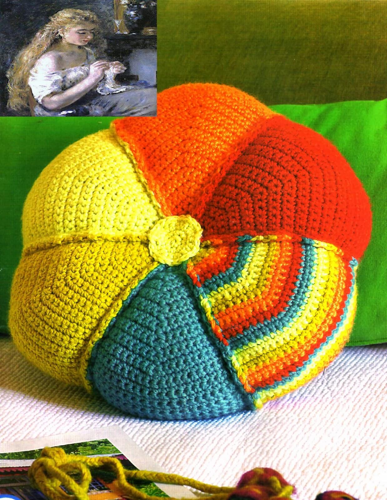 tejidos artesanales en crochet almohadon flor multicolor. Black Bedroom Furniture Sets. Home Design Ideas