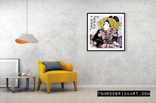 Elaborate Japanese woodblock painting by Boulder artist Tom Roderick.