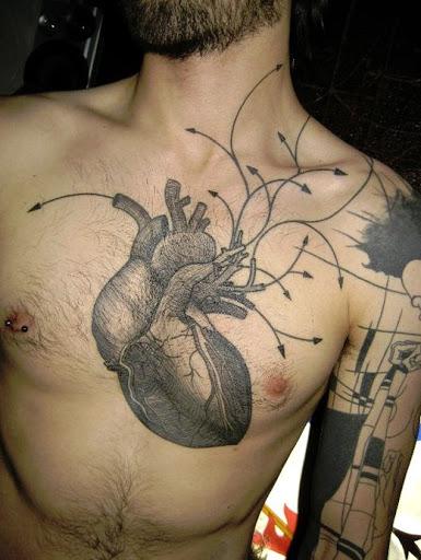 Um coração que bombeia o sangue