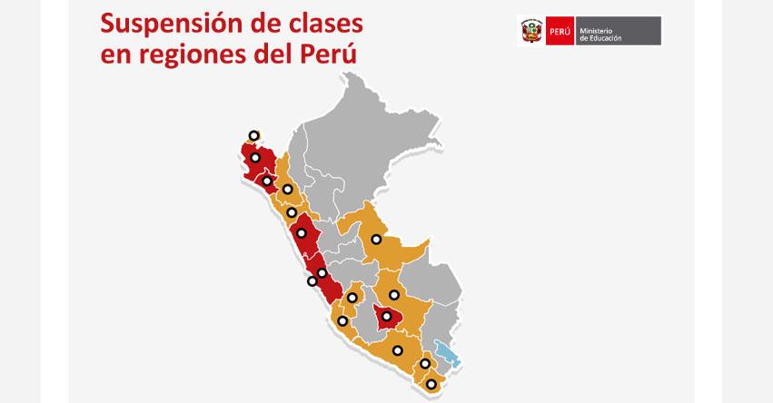 MINEDU: Suspensión de Clases en las Regiones del Perú (Total y Parcial) www.minedu.gob.pe