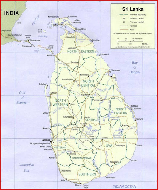 Gambar Peta politik Sri Lanka