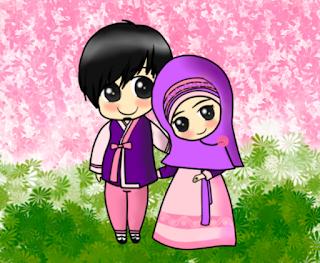 Wallpaper Gambar Kartun Lucu Muslim Berpasangan